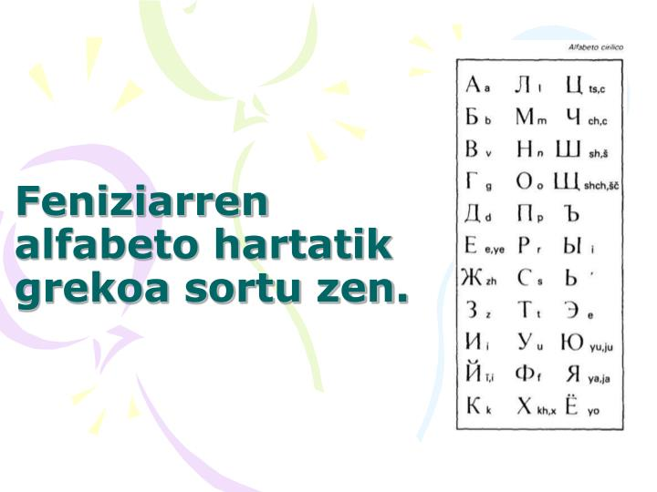 Feniziarren alfabeto hartatik grekoa sortu zen