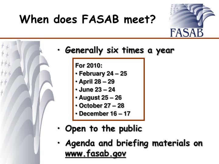 When does FASAB meet?