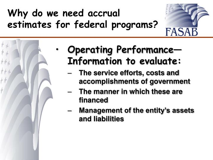 Why do we need accrual estimates for federal programs?