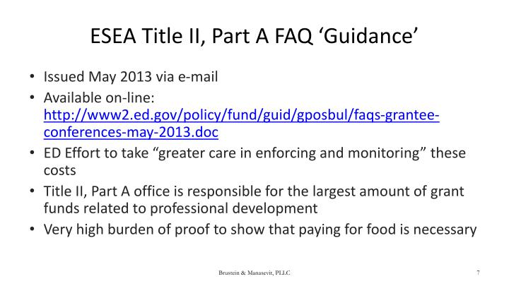 ESEA Title II, Part A FAQ 'Guidance'