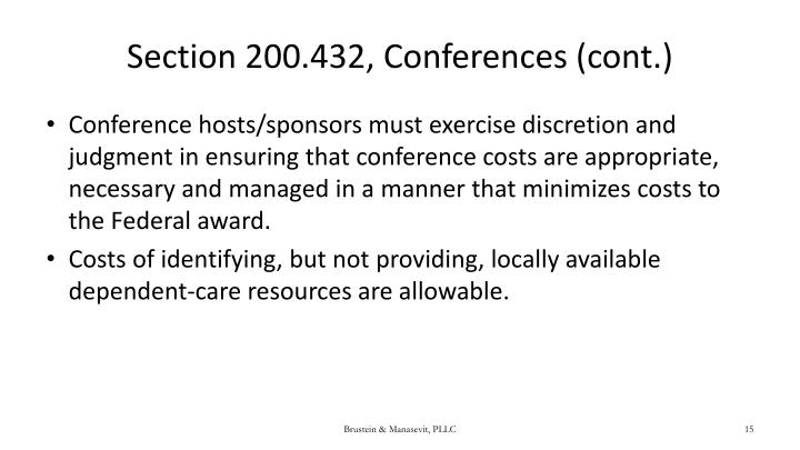 Section 200.432, Conferences (cont.)