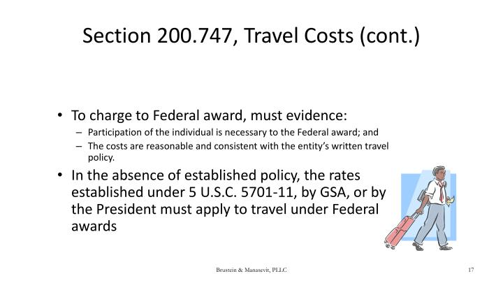 Section 200.747, Travel Costs (cont.)