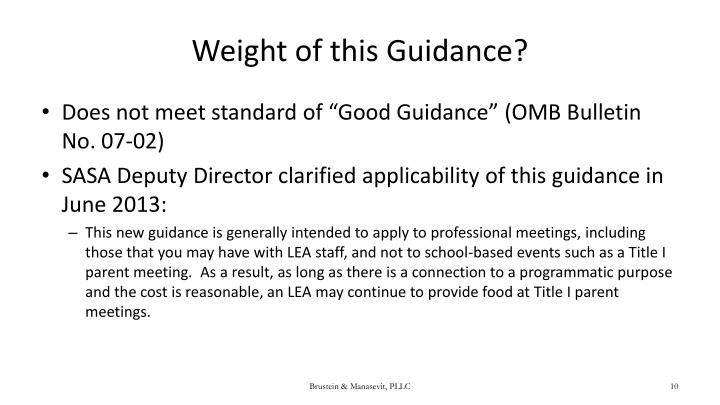Weight of this Guidance?