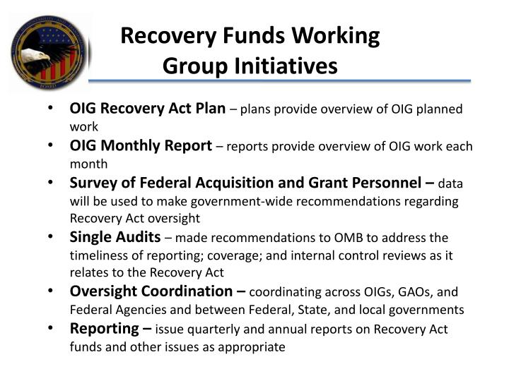 Recovery Funds Working Group Initiatives