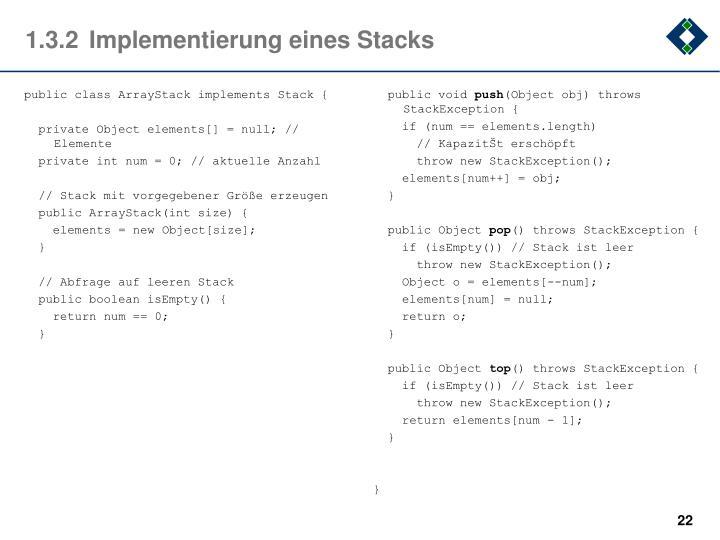 1.3.2Implementierung eines Stacks