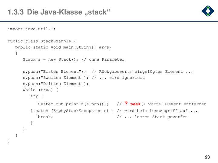 """1.3.3Die Java-Klasse """"stack"""""""