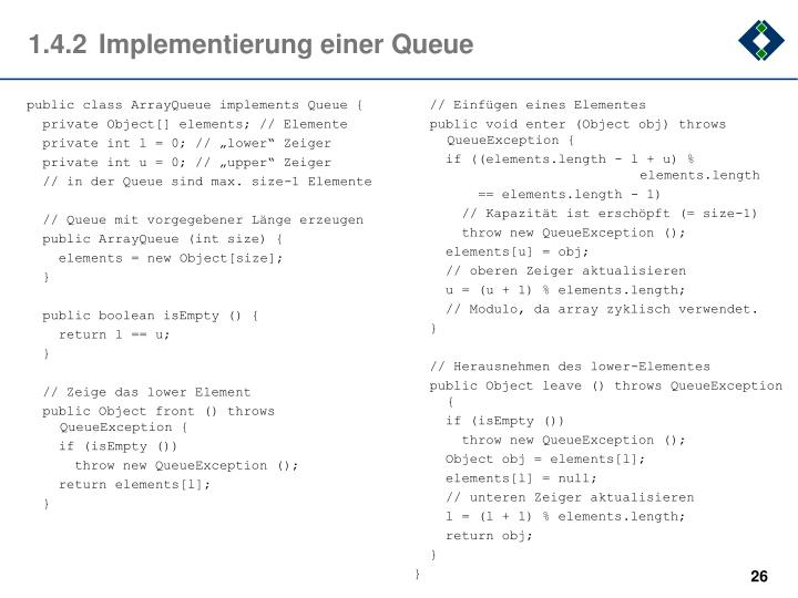 1.4.2Implementierung einer Queue