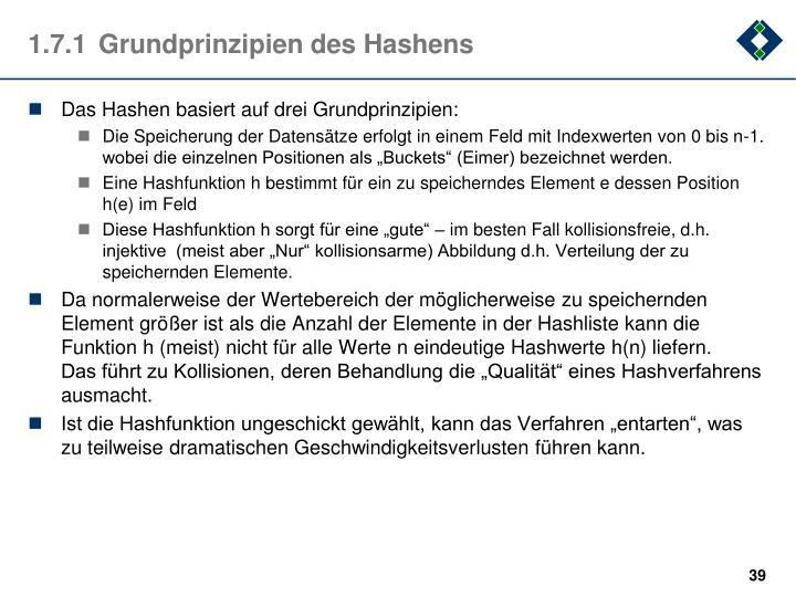 1.7.1Grundprinzipien des Hashens