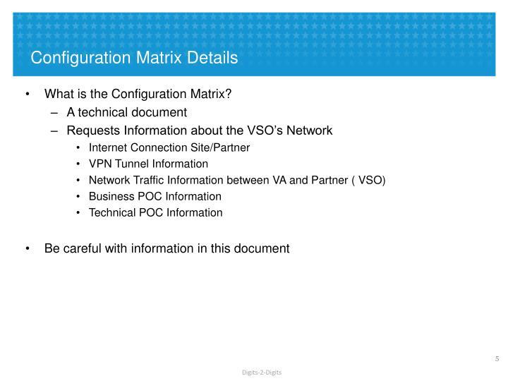 Configuration Matrix Details