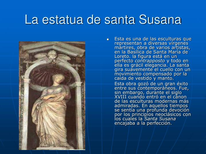 La estatua de santa Susana