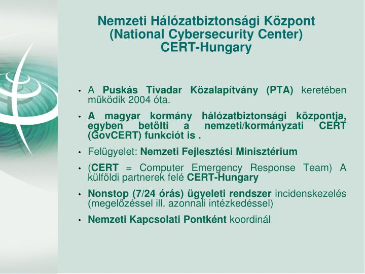 Nemzeti h l zatbiztons gi k zpont national cybersecurity center cert hungary