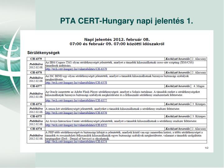PTA CERT-Hungary napi jelentés 1.