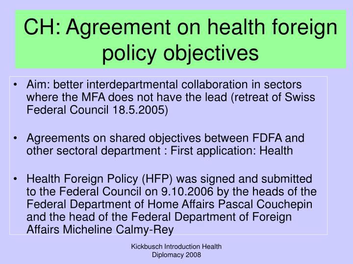CH: Agreement on health foreign policy objectives