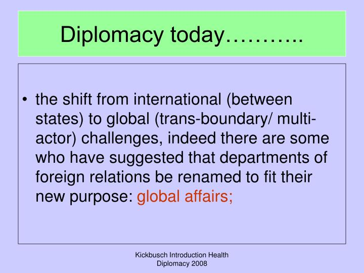 Diplomacy today………..