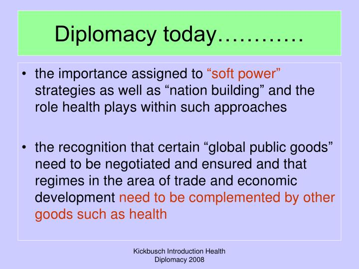 Diplomacy today…………