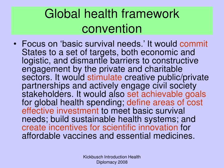 Global health framework convention