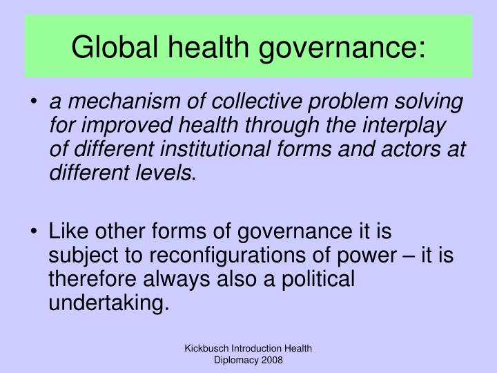 Global health governance: