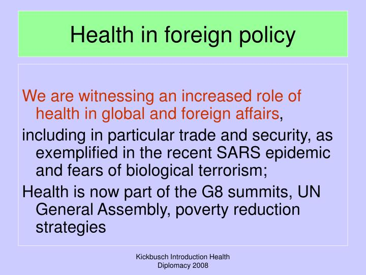 Health in foreign policy