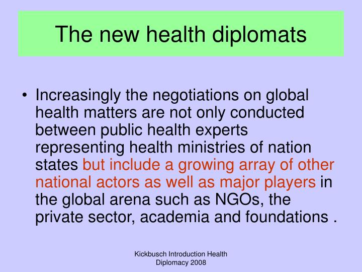 The new health diplomats