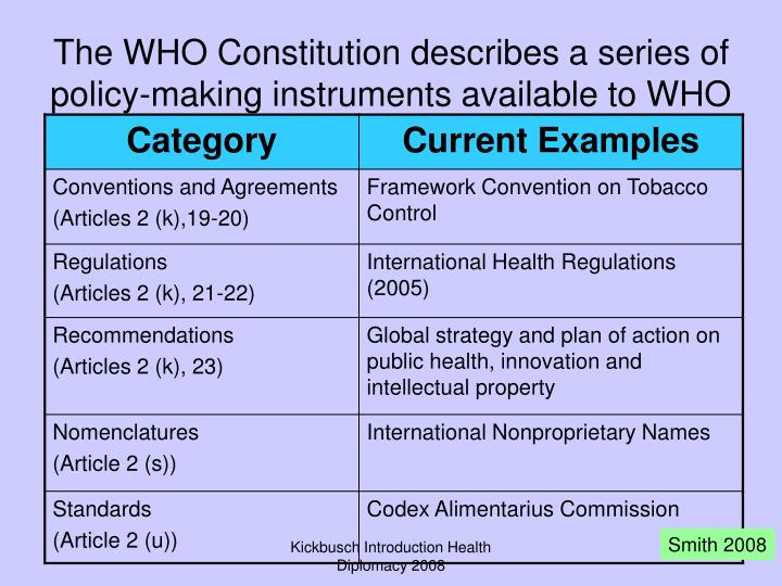 The WHO Constitution describes a series of policy-making instruments available to WHO