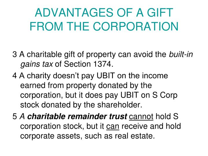 ADVANTAGES OF A GIFT