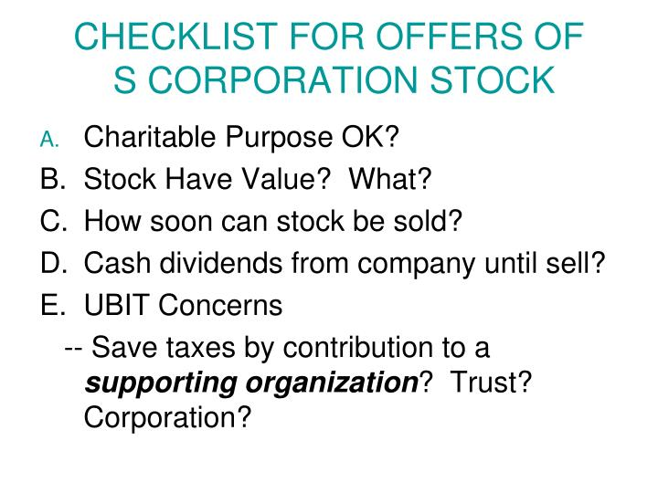 CHECKLIST FOR OFFERS OF