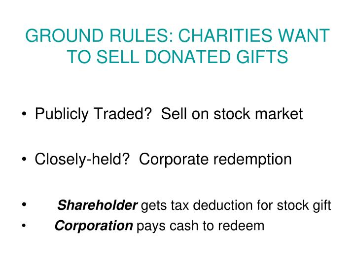 GROUND RULES: CHARITIES WANT TO SELL DONATED GIFTS