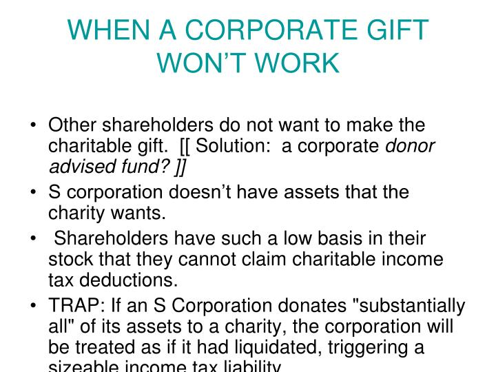 WHEN A CORPORATE GIFT WON'T WORK