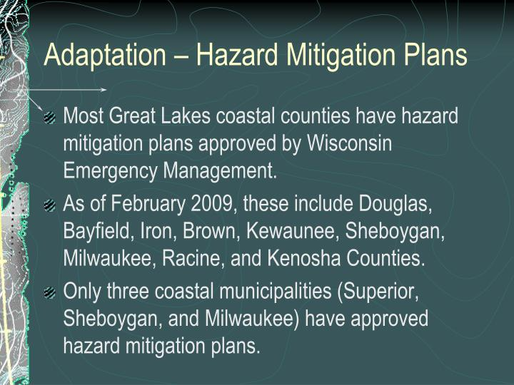 Adaptation – Hazard Mitigation Plans