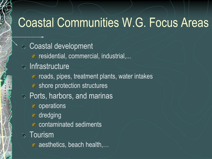 Coastal Communities W.G. Focus Areas