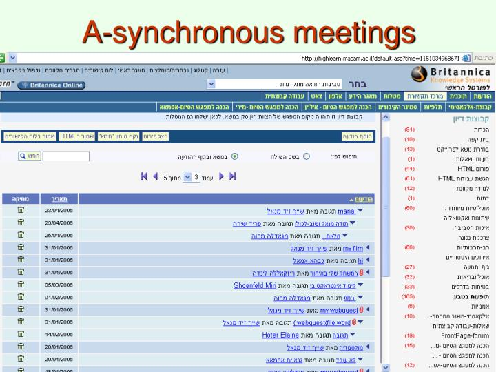 A-synchronous meetings