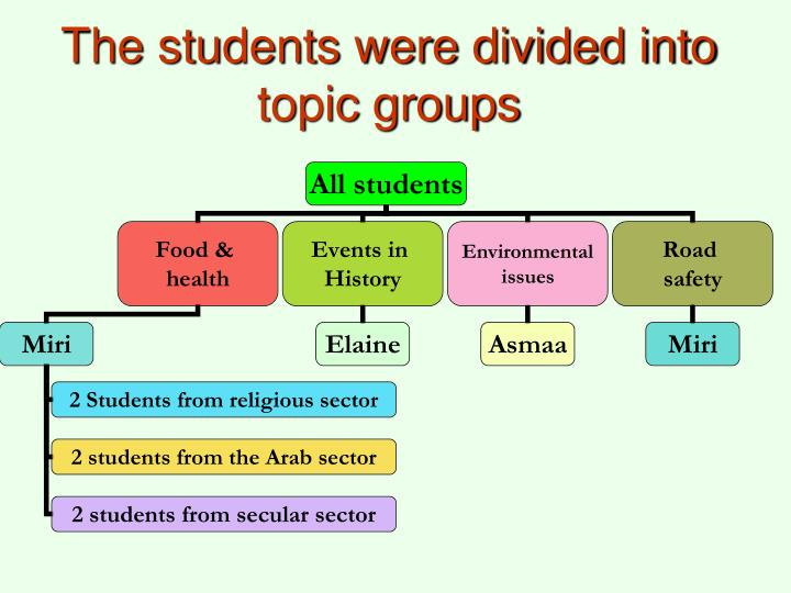 The students were divided into topic groups
