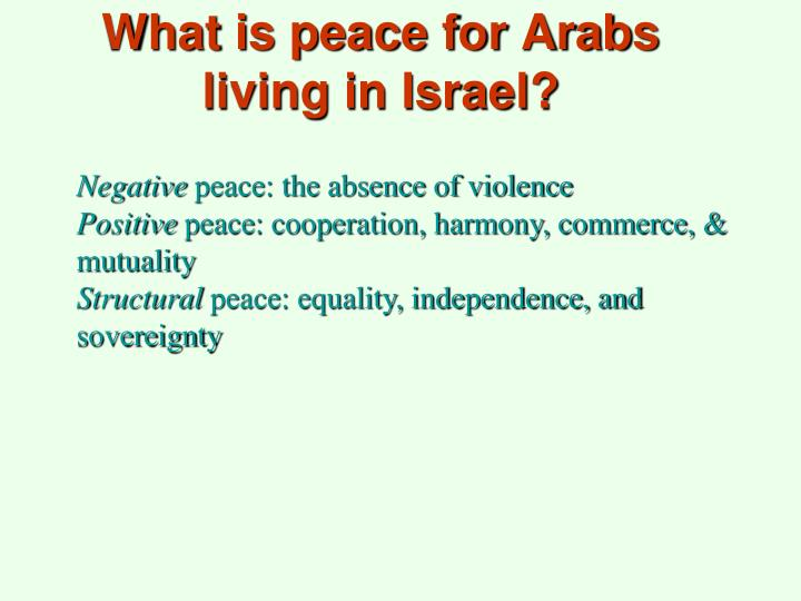 What is peace for Arabs living in Israel?
