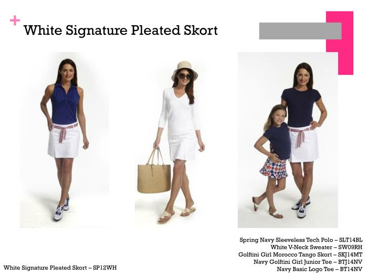 White signature pleated skort