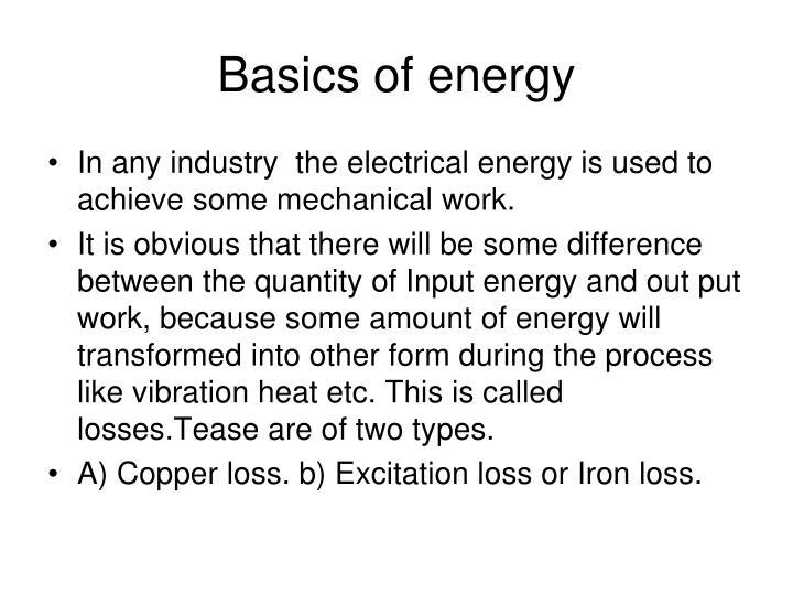 Basics of energy
