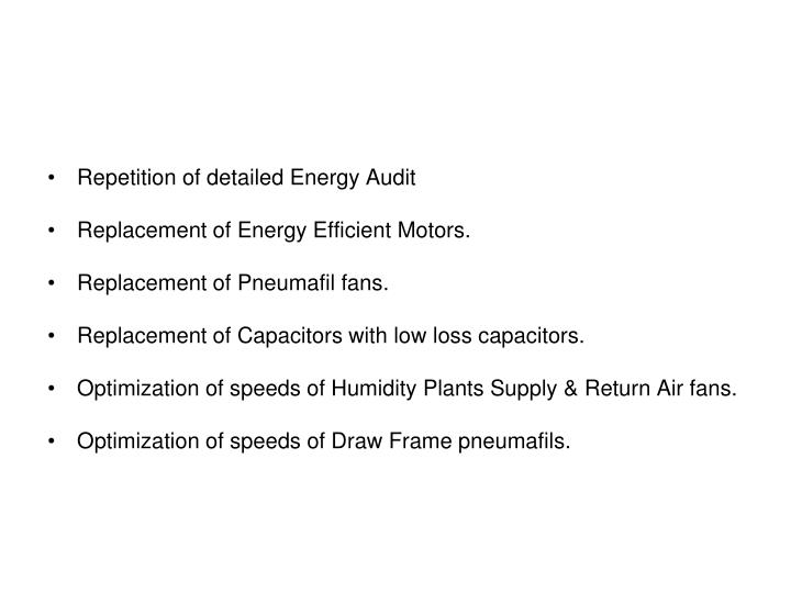 Repetition of detailed Energy Audit