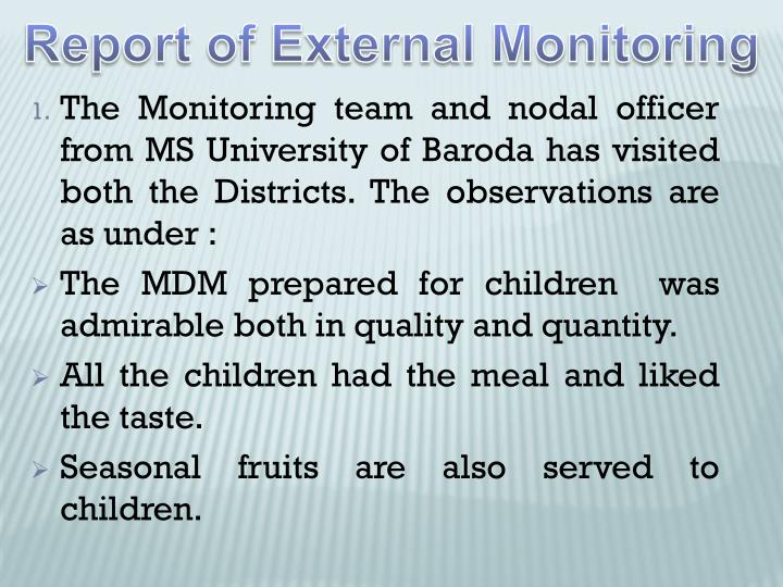 Report of External Monitoring