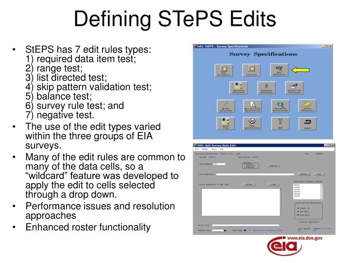 Defining STePS Edits