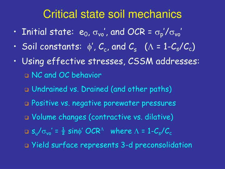Critical state soil mechanics