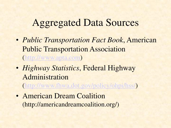 Aggregated data sources