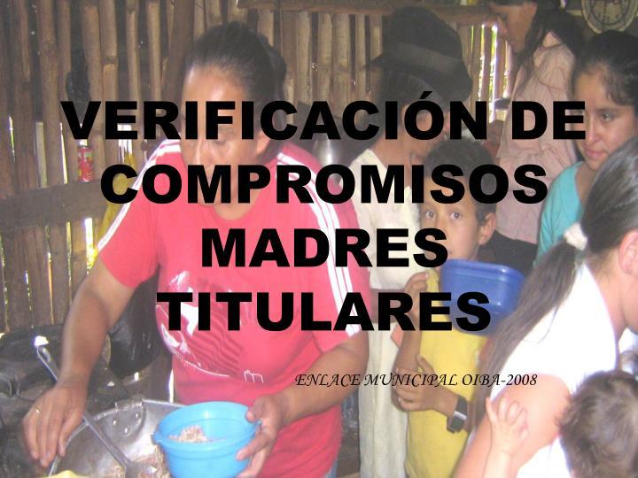 VERIFICACIÓN DE COMPROMISOS