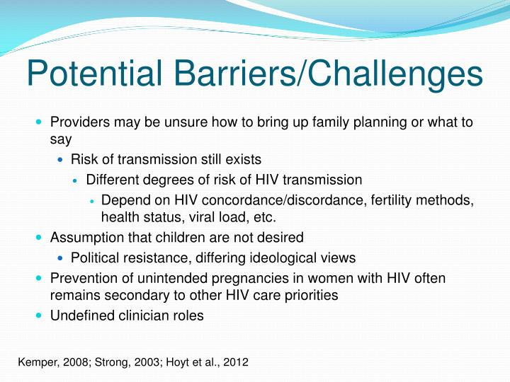 Potential Barriers/Challenges