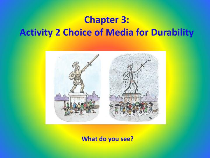 Chapter 3 activity 2 choice of media for durability