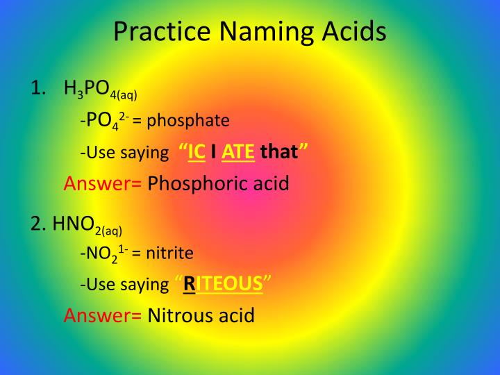 Practice Naming Acids