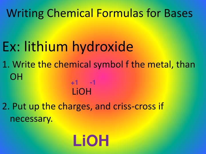 Writing Chemical Formulas for Bases