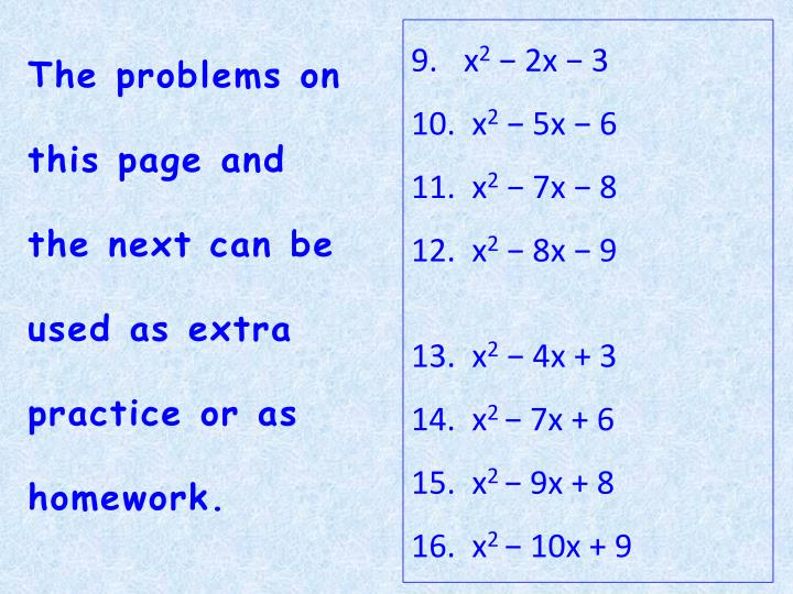 The problems on this page and the next can be used as extra practice or as homework.