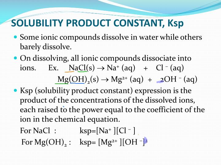 SOLUBILITY PRODUCT CONSTANT,