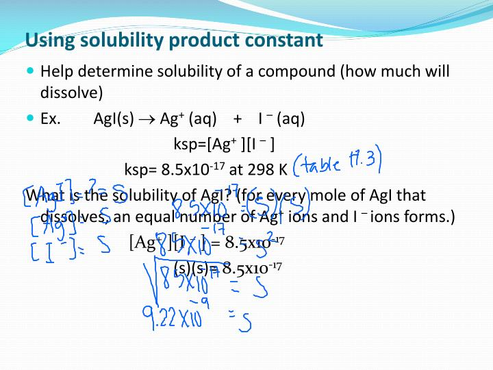 Using solubility product constant
