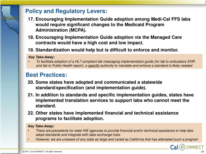 Policy and Regulatory Levers: