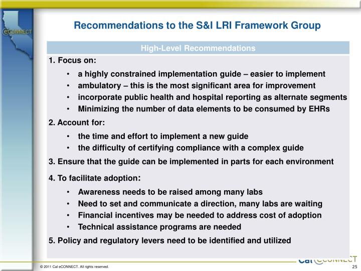 Recommendations to the S&I LRI Framework Group